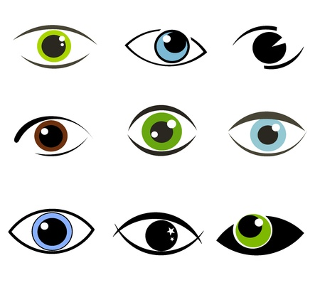 ojos marrones: Colecci�n de iconos de ojos y s�mbolos. Ilustraci�n vectorial