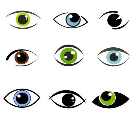 olhos castanhos: Collection of eyes icons and symbols. Vector illustration Ilustração
