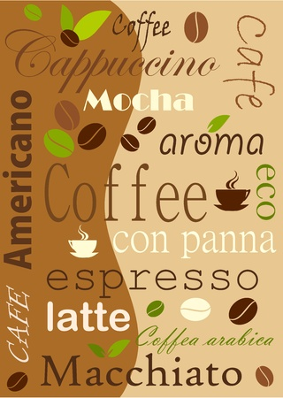 Coffee background, various kinds Vector