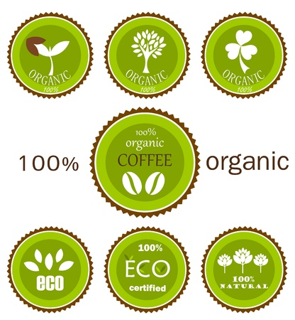 saplings: Ecological organic icons or labels in green and brown colors for food products. Illustration