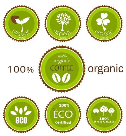 earth friendly: Iconos org�nicos ecol�gicos o etiquetas en colores verdes y marr�n para productos alimenticios.
