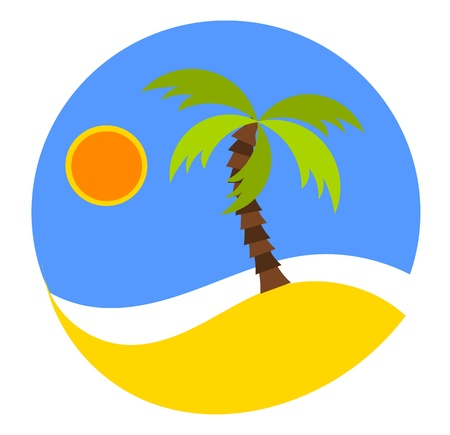 palm frond: Dreaming vacation: round emblem with beach and palm.