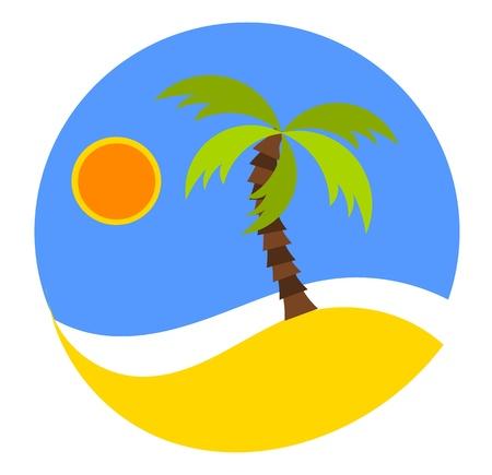 palm desert: Sognando la vacanza: turno emblema con spiaggia e palme.