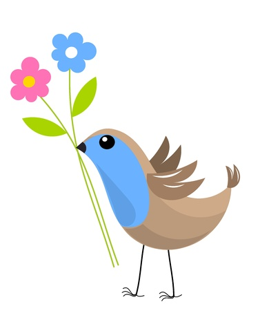 Blue bird with two flowers. Vector