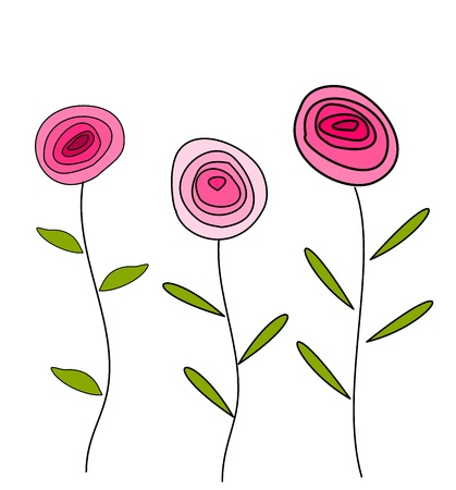 Roses in pink color card Vector