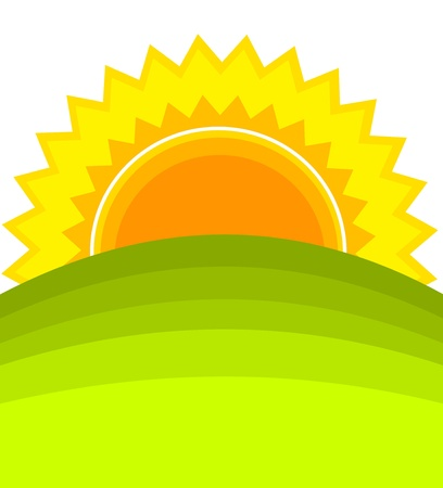 Sunrise over green hill. Stock Vector - 10045648