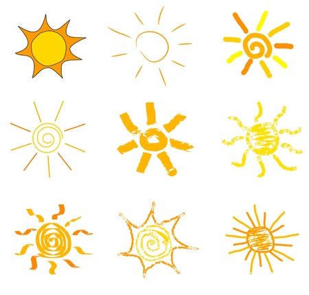 solar symbol: Suns drawn collection in childish style Illustration