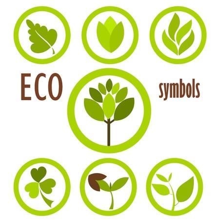 Set eco pictogrammen en symbolen die in cirkels. Vector Illustratie