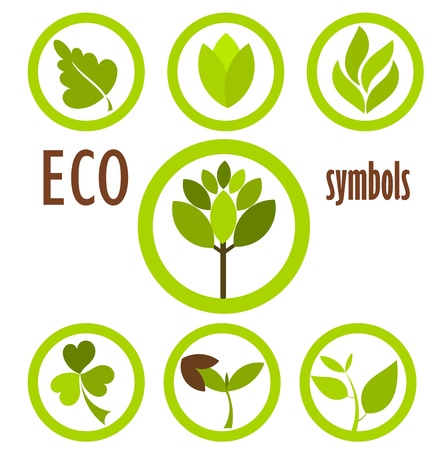 Set of eco icons and symbols in circles. Vector