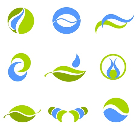leaf logo: Water and Earth green and blue symbols or logos Illustration