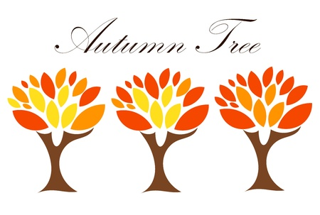 three objects: Autumn trees with colorful leaves. Three stages