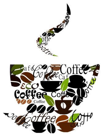 coffee time: Coffee cup made of various captions, cups and beans Illustration