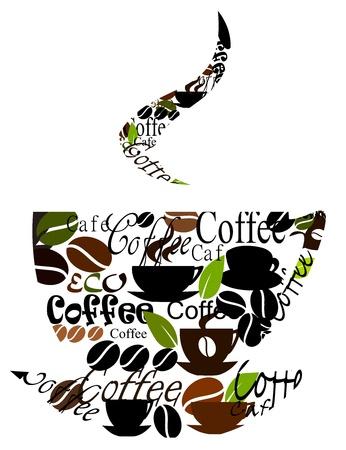 cafe bar: Koffiekopje gemaakt van verschillende titels, koppen en bonen