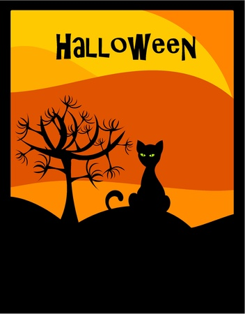 thrill: Halloween background with black cat and scary tree Illustration