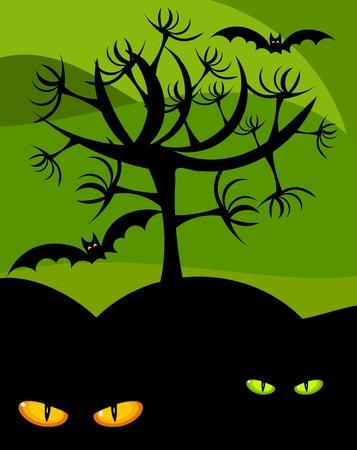 Halloween scary scenery - wild cat eyes, tree and bats Stock Vector - 10298618