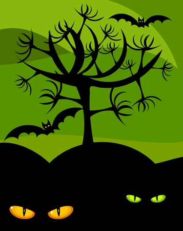 Paisaje scary Halloween - murciélagos, árbol y ojos de gato montés