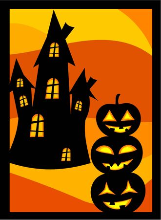 Halloween background with scary pumpkin lanterns and house Vector