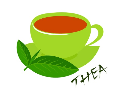 teacup: A green cup of tea with fresh tea leaves and thea caption. Five oclock