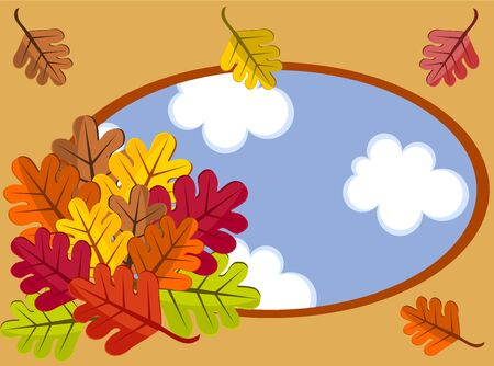 Autumn frame with colorful buquet of leaves. Stock Vector - 10298621