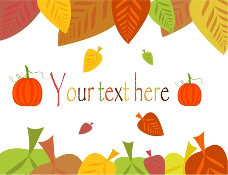 Colorful autumn leaves frame with pumpkins Stock Vector - 10298622