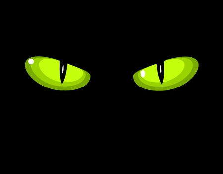 halloween eyeball: Green dangerous wild cat eyes in darkness