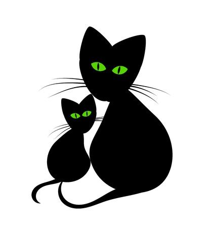 evil eyes: Black cats: cats mom and kitten Illustration