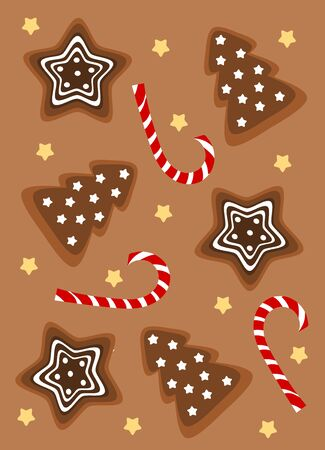 Christmas gingerbread cookie and candy background. Vector illustration Vector