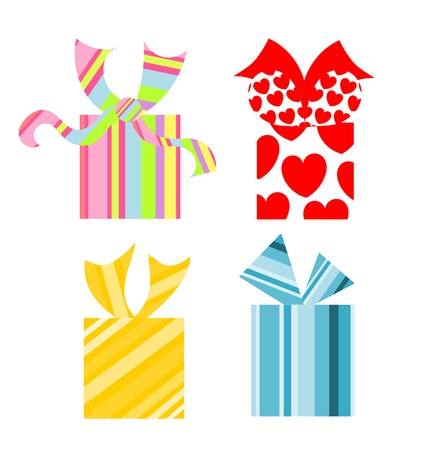 heart gift box: Set of various colorful present boxes. Gifts for Christmas
