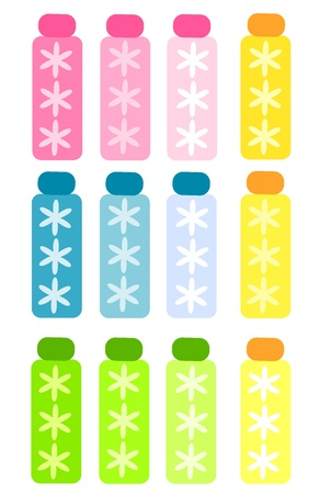 pamper: Set of colorful bottles for cosmetics or spa oils. Vector illustration