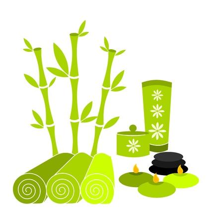 massage therapie: Spa gereedschappen en accessoires in groene kleur. Vector illustratie