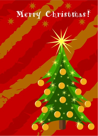balls decorated: Decorated Christmas tree over red and golden background. Christmas card project
