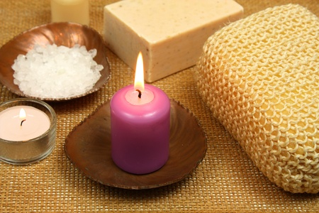 Spa composition with candle photo