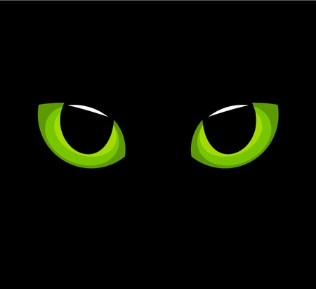 Hypnotic green cat eyes in darkness. Vector
