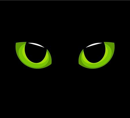 gato negro: Ojos de gato verde hipn�tico en la oscuridad. Vectores