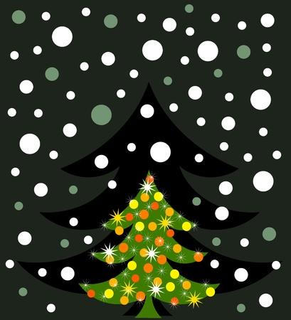 Christmas tree in darkness. Vector