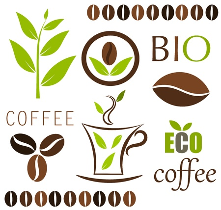 green coffee beans: Eco coffee elements.