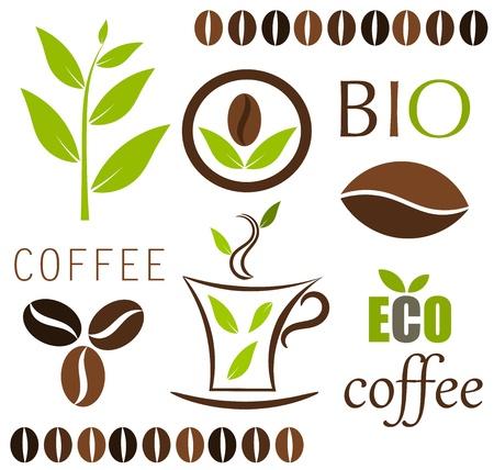 coffee beans: Eco koffie elementen. Stock Illustratie