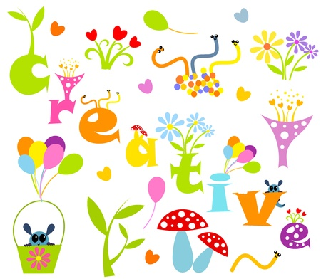 Funny creative elements - flowers and creatures.  Stock Vector - 10491822