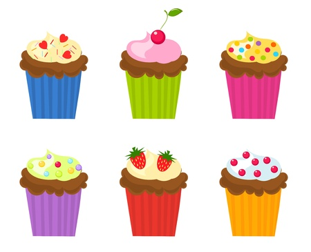Set of six colorful cupcakes.  Illustration