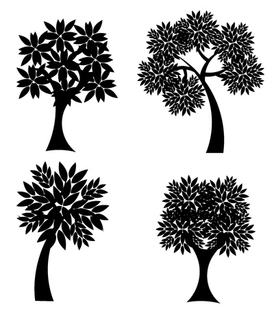 Silhouettes of trees isolated over white. Vector