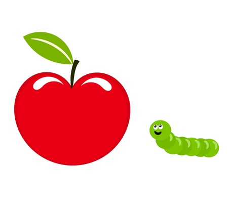 gusano caricatura: Linda gusano (caterpillar) con appettite de manzana roja
