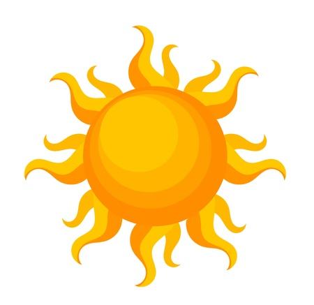 soleil souriant: Fantaisie de soleil sur blanc. Illustration
