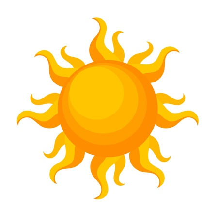 sol caricatura: La fantas�a del sol sobre blanco.
