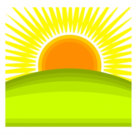 Sun rising behind green hill horizon. Vector