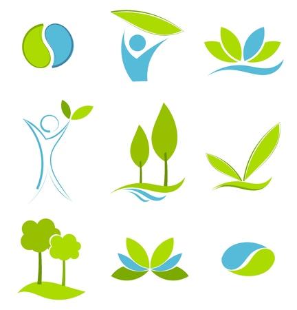 Símbolos de verdes y azules de vida ecológica. Conceptos de agua y tierra Ilustración de vector