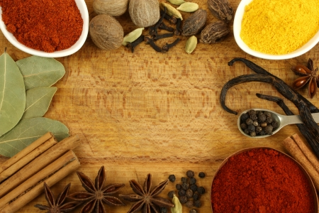 indian spices: Frame made of different spices - cinnamon, star anise, nutmeg Stock Photo
