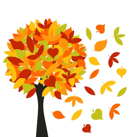 leaves vector: Autumn tree with colorful different leaves. Vector illustration