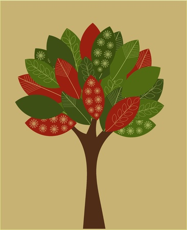 ornamented: Abstract autumnal tree. Eco concept - vector illustration