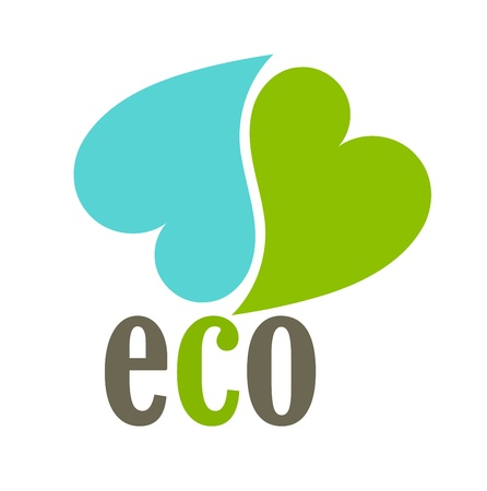 simple logo: Eco heart symbol - vector illustration