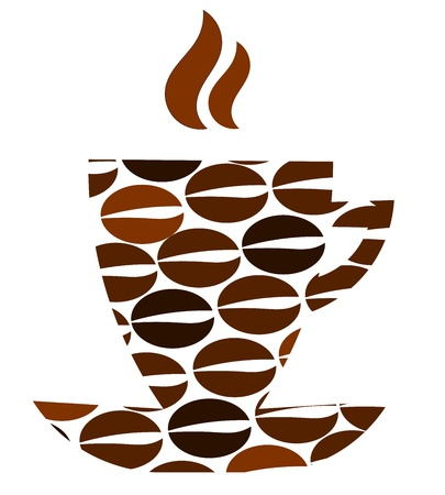Abstract coffee cup with beans pattern Ilustração